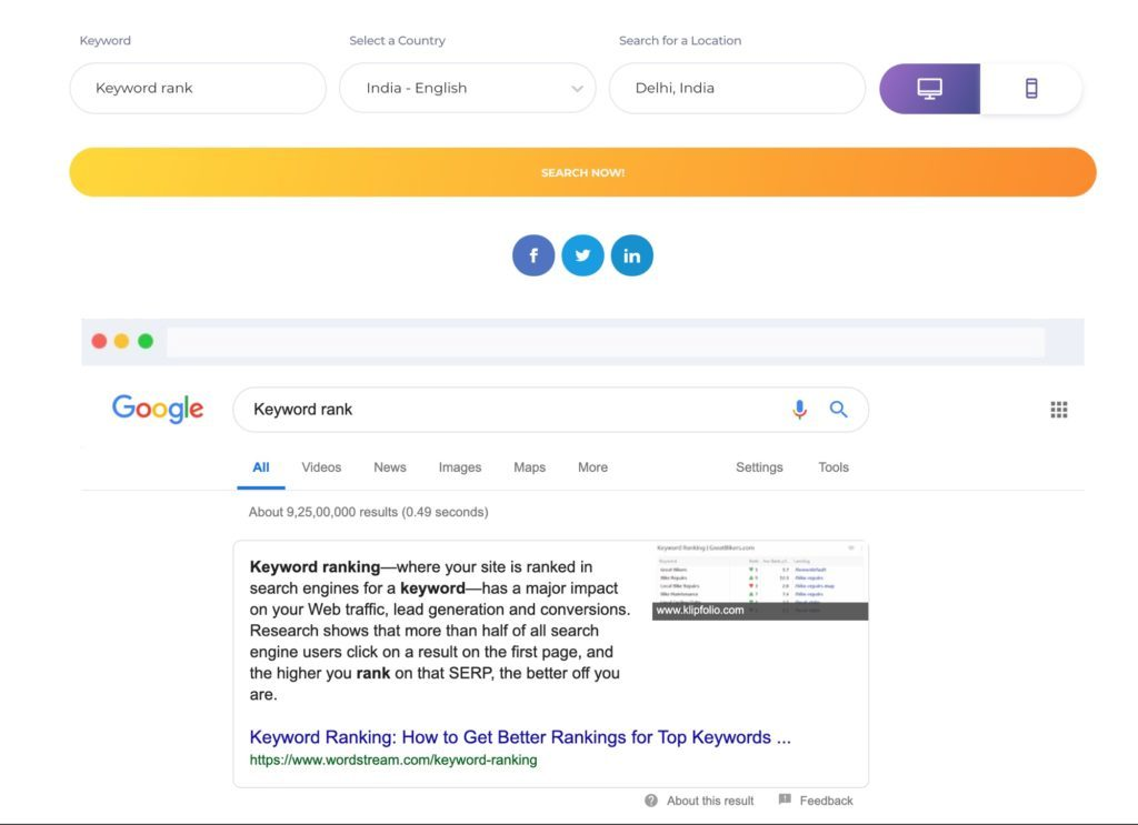 Google rank checker ranking palabras clave bing