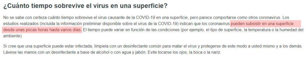 tiempo coronavirus superficie
