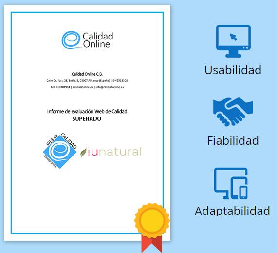 iunatural Obtiene el Certificado de Calidad Online - iunatural